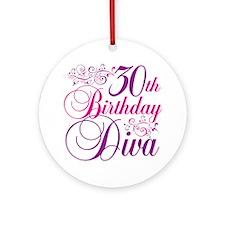 30th Birthday Diva Ornament (Round)