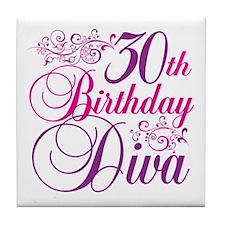 30th Birthday Diva Tile Coaster