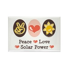 Peace Love Solar Power Rectangle Magnet