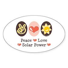 Peace Love Solar Power Oval Decal