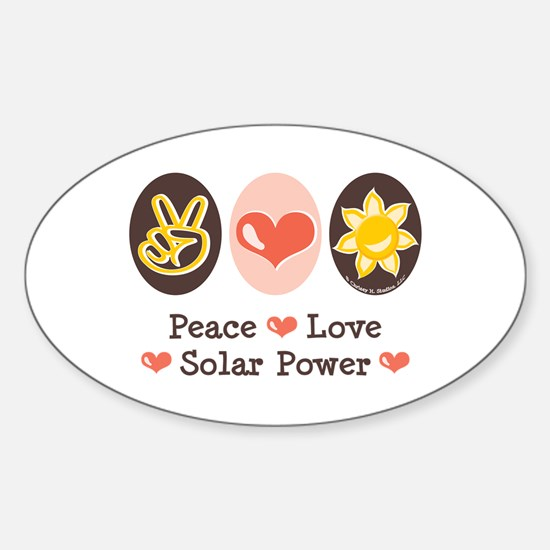 Peace Love Solar Power Oval Decal