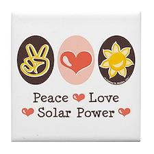 Peace Love Solar Power Tile Coaster