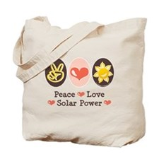 Peace Love Solar Power Tote Bag