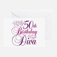 50th Birthday Diva Greeting Cards (Pk of 20)