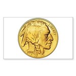 Gold Indian Head Rectangle Sticker 10 pk)