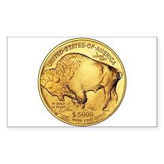 Gold Buffalo Rectangle Sticker 10 pk)