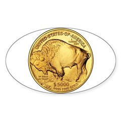 Gold Buffalo Oval Sticker (10 pk)