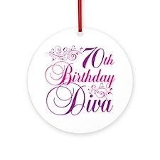 70th Birthday Diva Ornament (Round)