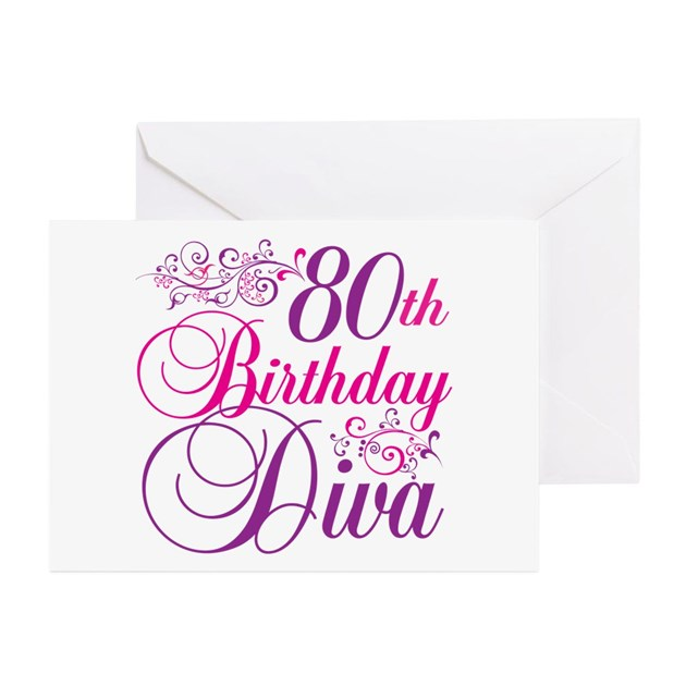 80th Birthday Diva Greeting Cards (Pk Of 10) By Letscelebrate