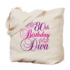 80th Birthday Diva Tote Bag