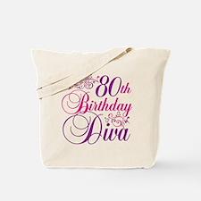 80th Birthday Diva Tote Bag