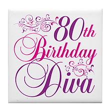 80th Birthday Diva Tile Coaster