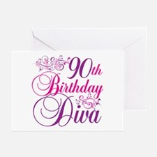 90th Birthday Diva Greeting Cards (Pk of 20)