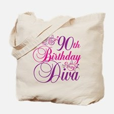 90th Birthday Diva Tote Bag