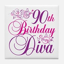90th Birthday Diva Tile Coaster