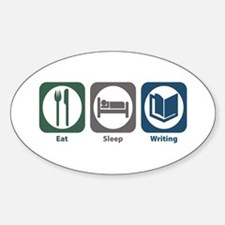 Eat Sleep Writing Oval Decal