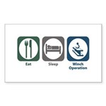 Eat Sleep Winch Operation Rectangle Sticker 50 pk