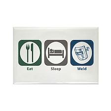 Eat Sleep Weld Rectangle Magnet