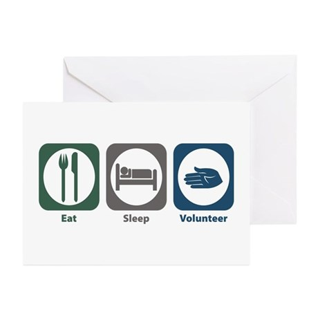 Eat Sleep Volunteer Greeting Cards (Pk of 10)