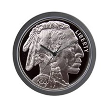 Silver Indian Head Wall Clock