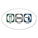 Eat Sleep Usher Oval Sticker (50 pk)