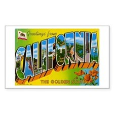 California Postcard Rectangle Decal