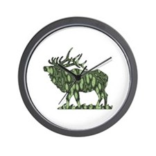 camo elk Wall Clock
