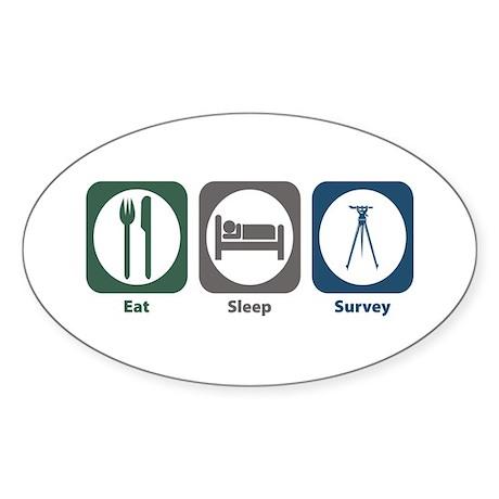 Eat Sleep Survey Oval Sticker (50 pk)