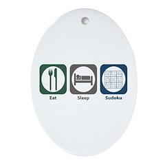 Eat Sleep Sudoku Oval Ornament