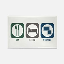Eat Sleep Stamps Rectangle Magnet