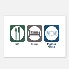 Eat Sleep Stained Glass Postcards (Package of 8)
