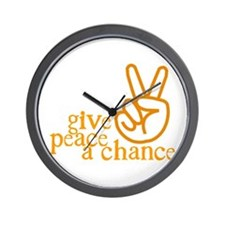 Give Peace a Chance - Hand Sign - Orange Wall Cloc