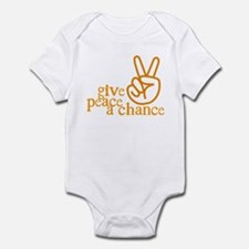 Give Peace a Chance - Hand Sign - Orange Infant Bo