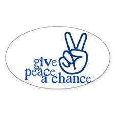 Give Peace a Chance - Hand Sign - Blue Decal
