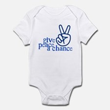 Give Peace a Chance - Hand Sign - Blue Infant Body