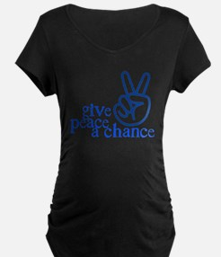 Give Peace a Chance - Hand Sign - Blue T-Shirt
