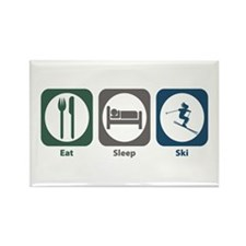 Eat Sleep Ski Rectangle Magnet