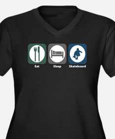 Eat Sleep Skateboard Women's Plus Size V-Neck Dark