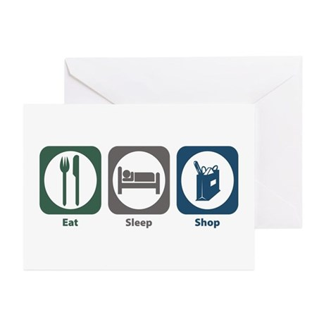 Eat Sleep Shop Greeting Cards (Pk of 20)