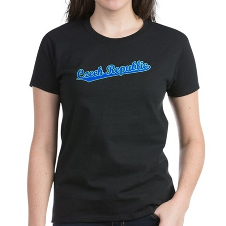 Retro Czech Republic (Blue) Women's Dark T-Shirt