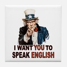 English: SPEAK ENGLISH Tile Coaster