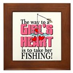 Fishing - Way to a Girl's Heart Framed Tile