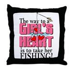 Fishing - Way to a Girl's Heart Throw Pillow