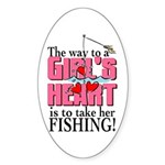 Fishing - Way to a Girl's Heart Oval Sticker