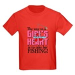 Fishing - Way to a Girl's Heart Kids Dark T-Shirt