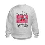 Fishing - Way to a Girl's Heart Kids Sweatshirt