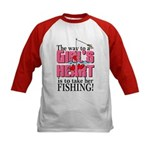 Fishing - Way to a Girl's Heart Kids Baseball Jers