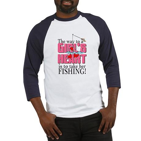Fishing - Way to a Girl's Heart Baseball Jersey
