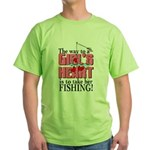 Fishing - Way to a Girl's Heart Green T-Shirt
