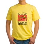 Fishing - Way to a Girl's Heart Yellow T-Shirt